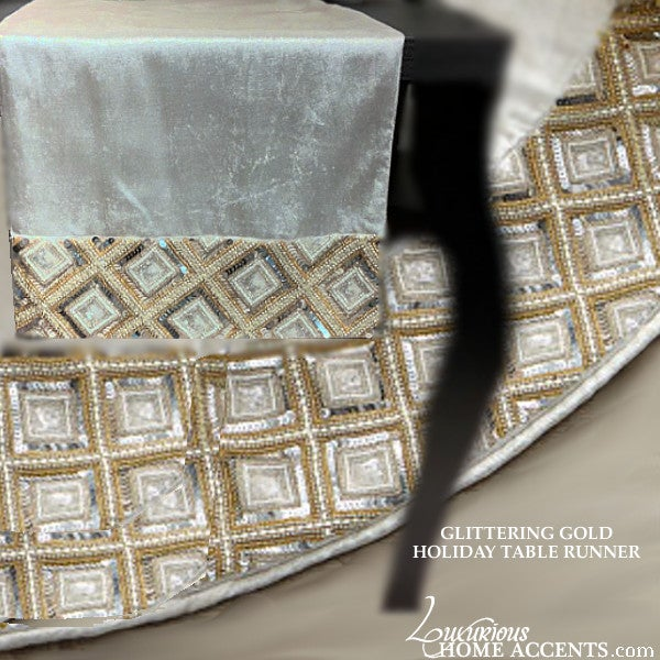Image of Gold and Silver Jeweled Trimmed Table Runner