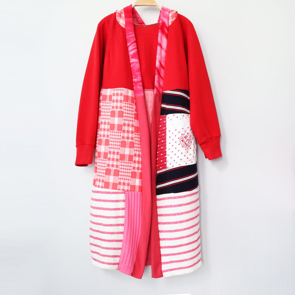 Image of gingham red pocket pink 10/12 vintage fabric COZY CARDIGAN ROBE HOODED HOODIE courtneycourtney