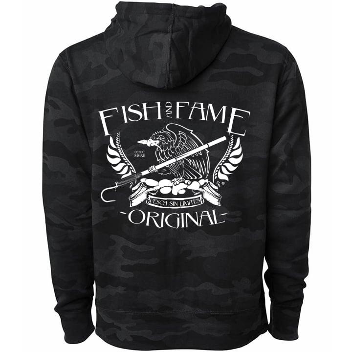 BLACK CAMO FISHING HOODIE BLACK LS WN