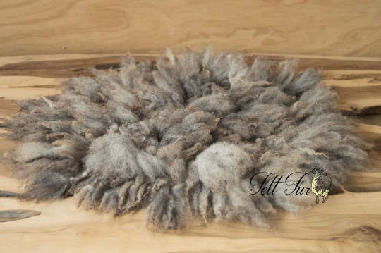 Image of Grey-Brown Fluffy Fur, Felted Rug (C184), Newborn Photography Wool Prop. Size C. Ready to Ship.