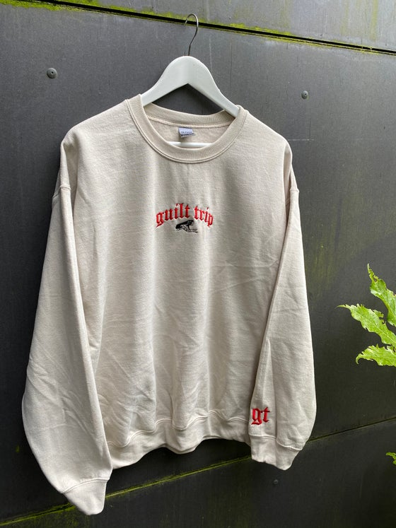 Image of Sand embroidered crewneck