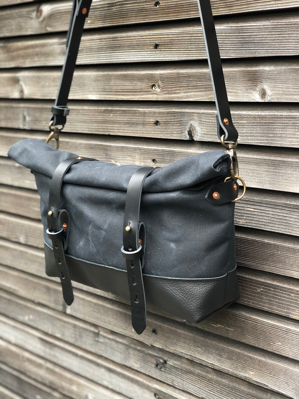 Image of Black waxed canvas and leather satchel / messenger bag / canvas day bag