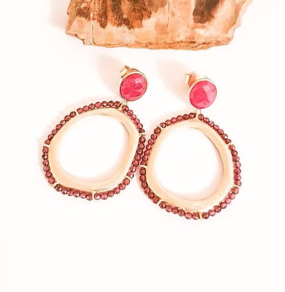 Image of Garnet and Ruby Gold Hoop Earrings