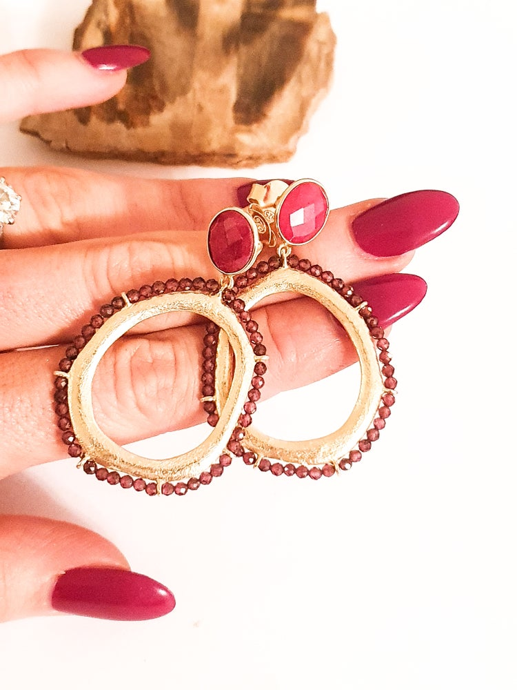 Image of Garnet and Ruby Gold Hoop Earrings