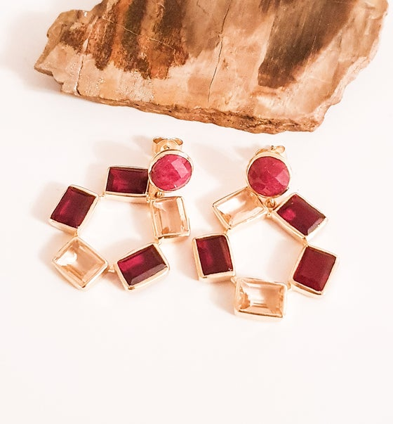 Image of Ruby, Red and Peach Crystal Hoops