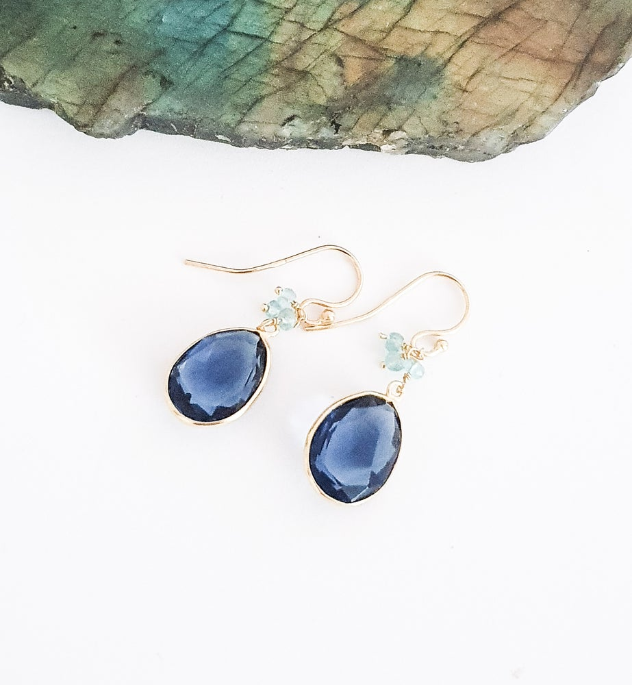 Image of Iolite and Blue Topaz Charm Earrings