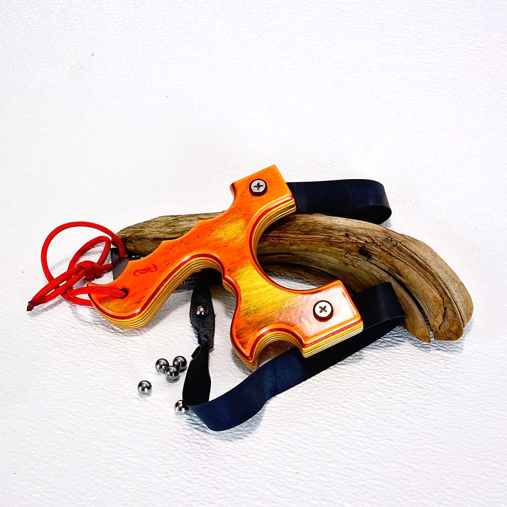 Image of Slingshot, The Menace, Tequila Sunrise Spectraply Wood, Hunting Gift, Wooden Catapult