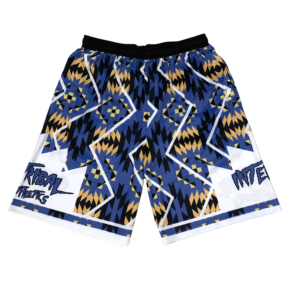 Image of Blue/Gold Tribal Shorts