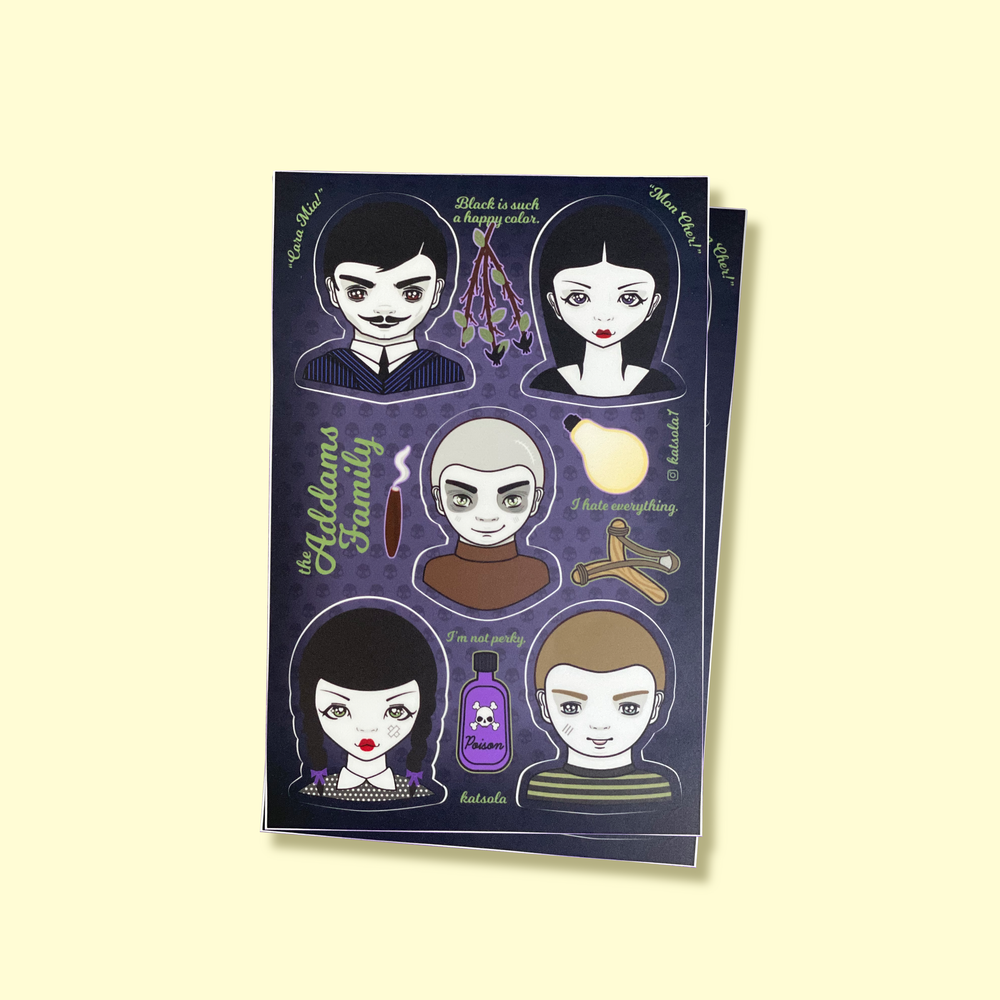 Image of The Addams Family Katsola Sticker Sheet