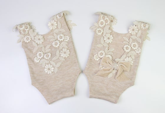 Image of Embroidered Lace & Velvet Bow Newborn Romper - a