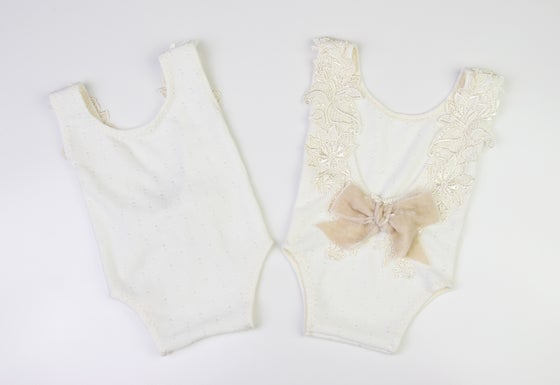 Image of Embroidered Lace & Velvet Bow Newborn Romper - b