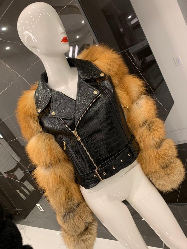 Image of Sarina (Croc) Biker Jacket (red fox sleeves)