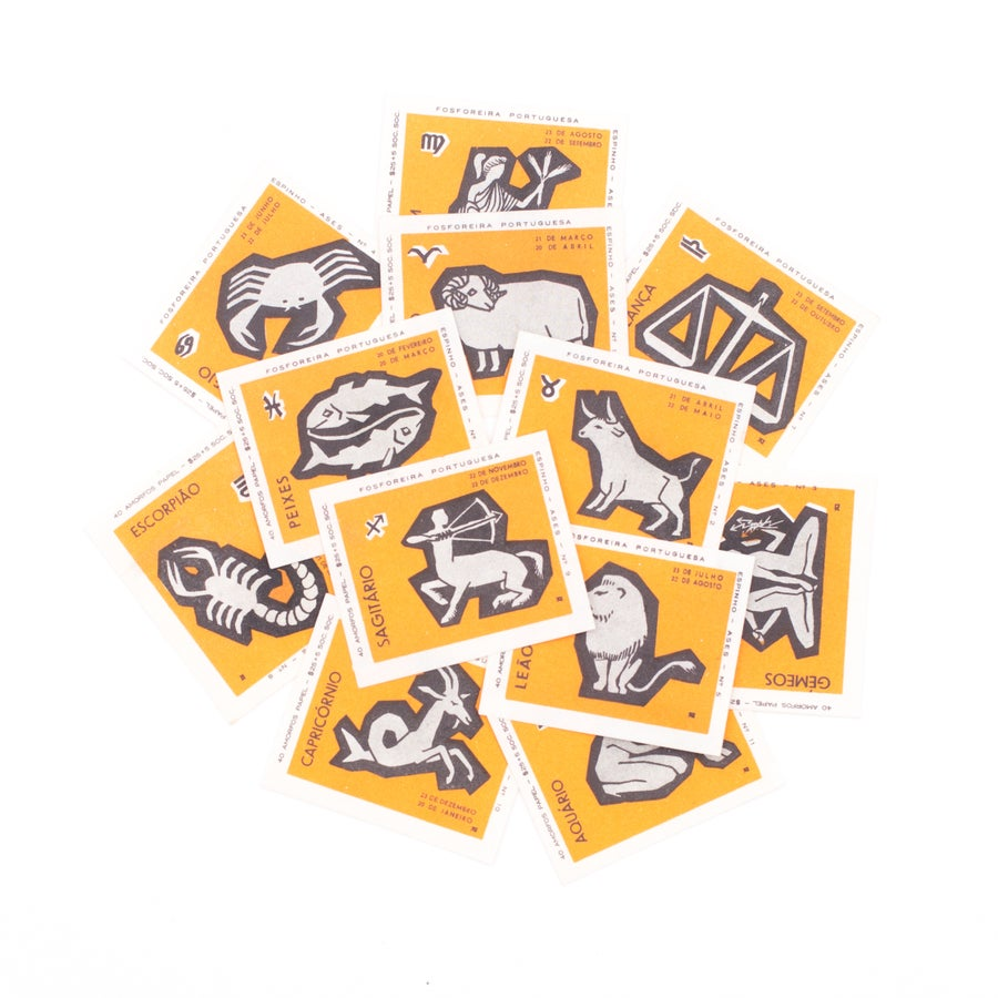 Image of Orange Zodiac Matchbox Labels