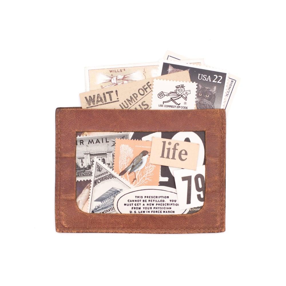 Image of Leather Pocket with Neutral Ephemera
