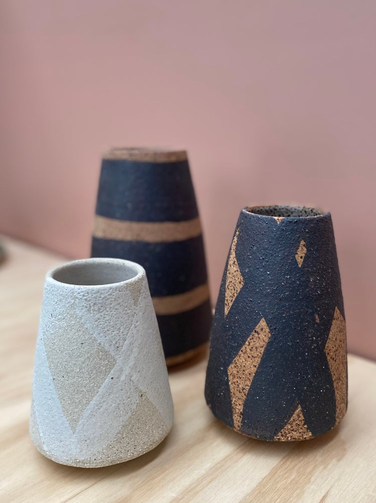 Image of Three raw vases
