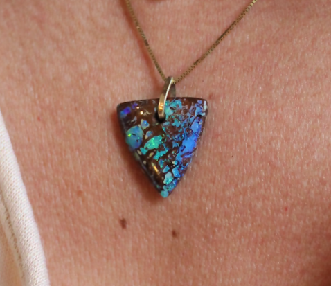Image of Bermuda Triangle - Boulder Opal in Gold