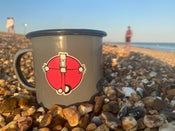 Image of Grey Everyman enamel mug.