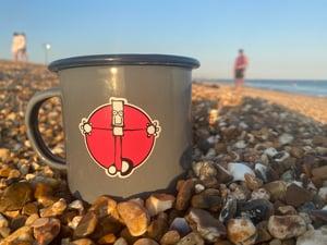 Image of Grey Everyman enamel mug.