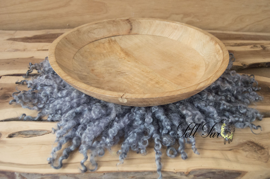 Image of Grey-Blue Curly Fur, Steel Grey, Felted Rug (C181), Newborn Photography Wool Prop. Size C. RTS