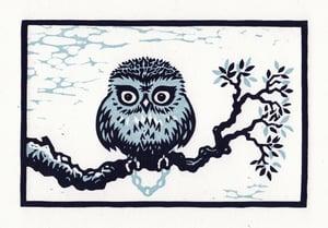 Image of Lockdown Owl linocut print