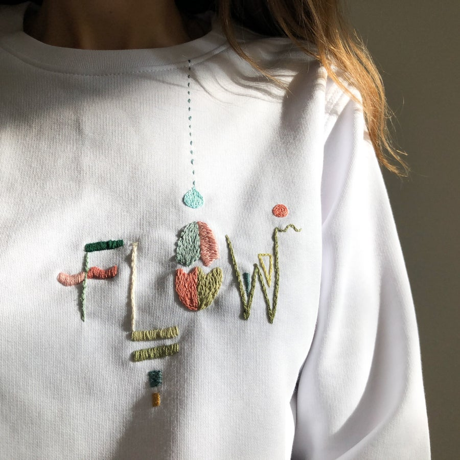 Image of FLOW sweatshirt - hand embroidered organic cotton sweatshirt, Unisex, available in ALL sizes