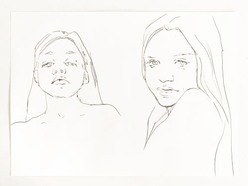 Image of two girls pencil sketch