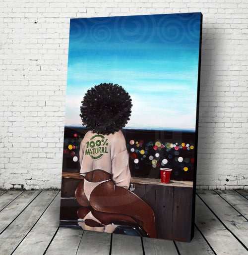 "Image of JEREMY WORST ""100% Natural "" Original Artwork African American urban sweater brown skin wall art wow"