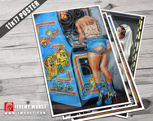 Image of JEREMY WORST Ms Pacman Arcade Sexy girl Artwork Fine Art Print pin up Adult erotic booty shorts