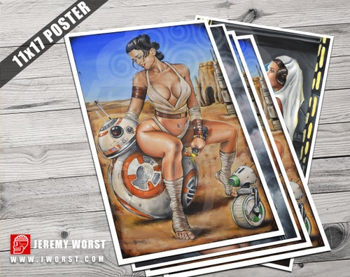 "Image of ""Rey Likes BB-8"" Jeremy Worst Sexy Star Wars Poster Wall Art Canvas Princess Leia r2d2"