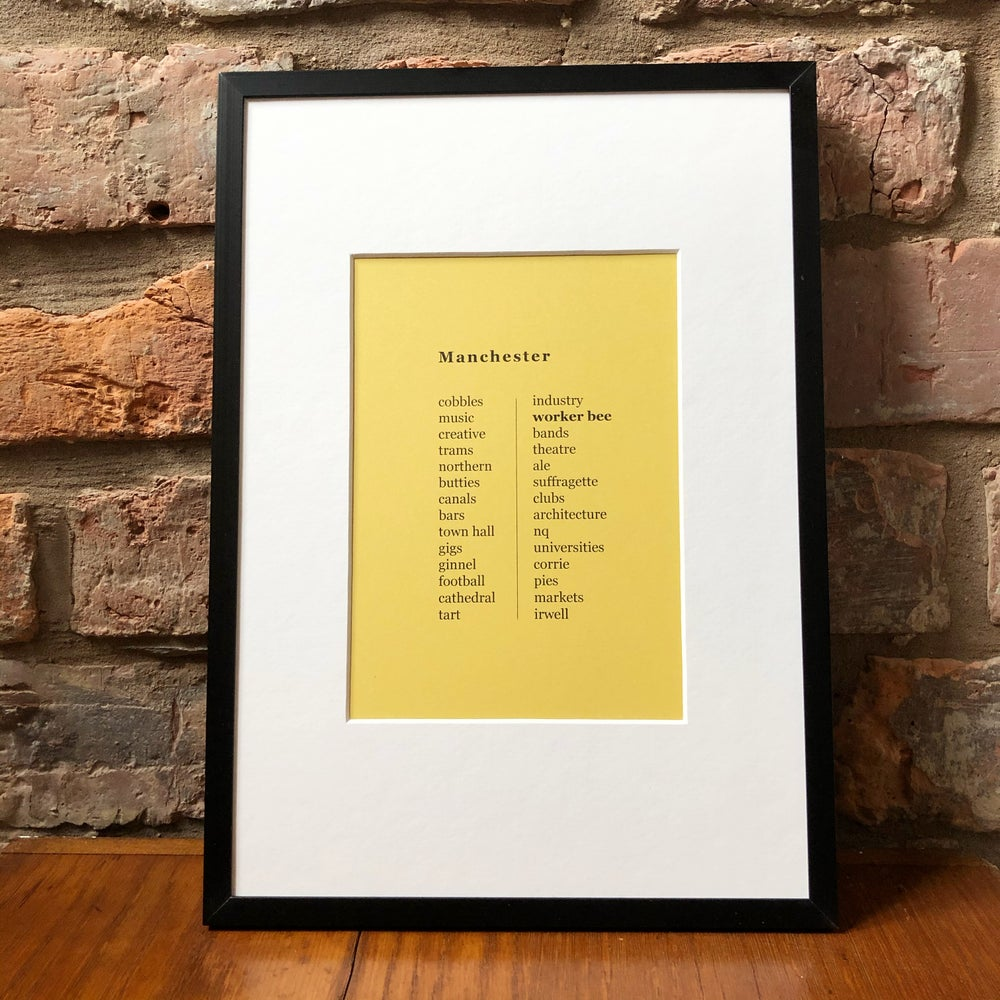 Image of MANCHESTER LIST FRAMED PRINT