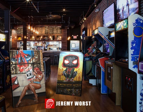 Image of Miles Pop Morales Jeremy Worst Spiderman avengers marvel comics painting fan art graffiti city urban