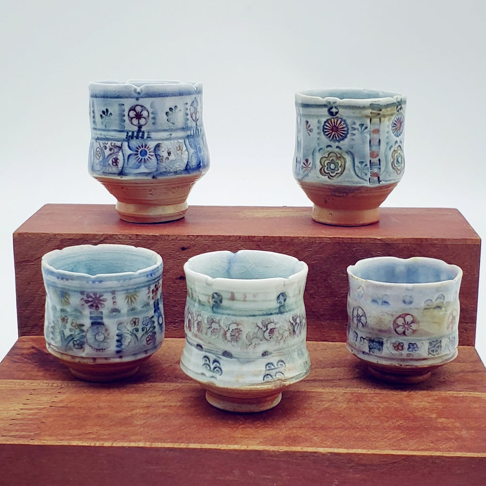 Image of Porcelain Woodfired Handpainted Saki Cups
