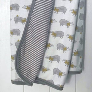 Image of Badger Print Organic Baby Blanket