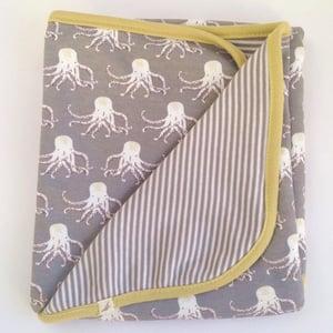 Image of Octopus Print Organic Cotton Baby Blanket