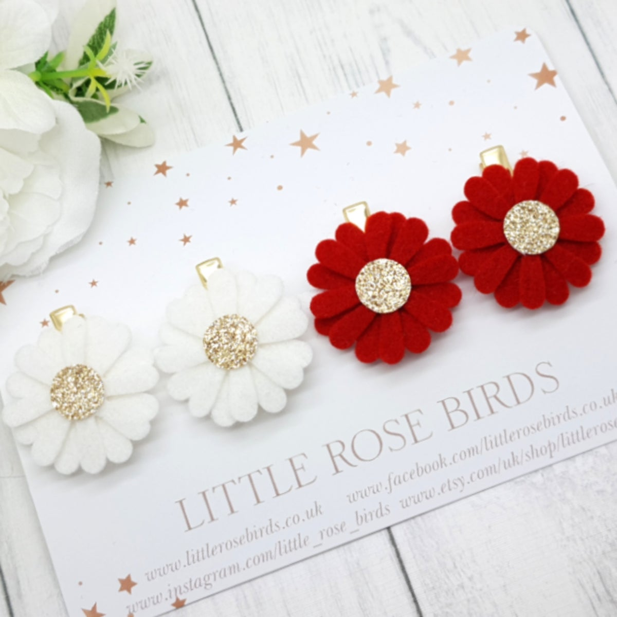 Image of White / Red Daisy Pigtail Set