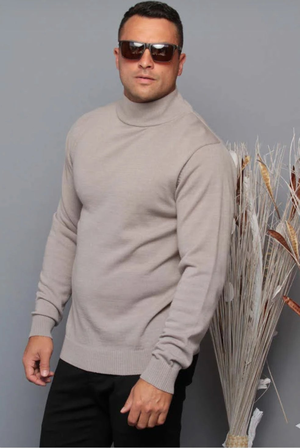 Image of Wool Blend Mock Neck Long Sleeve Sweater | SW-200 Grey