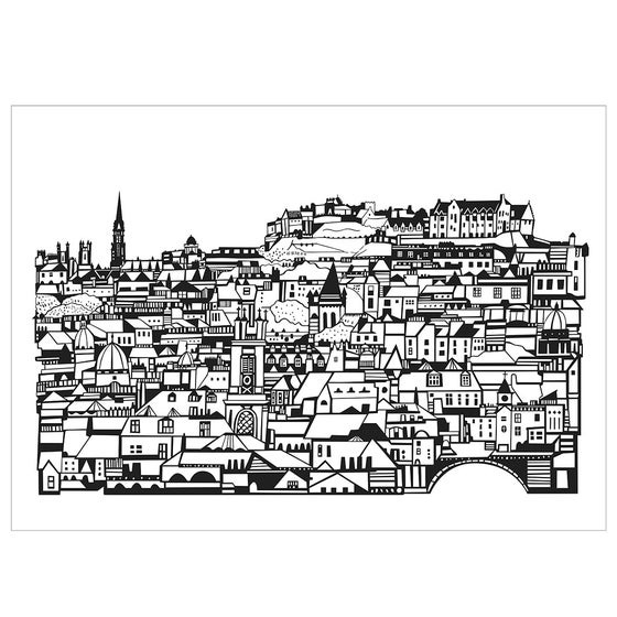 Image of Edinburgh from Stockbridge screen print