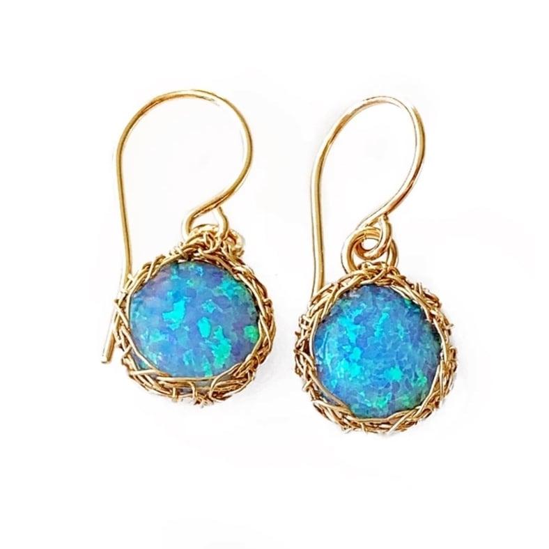 Image of 14k Gold-fill Crochet and Opal Earrings