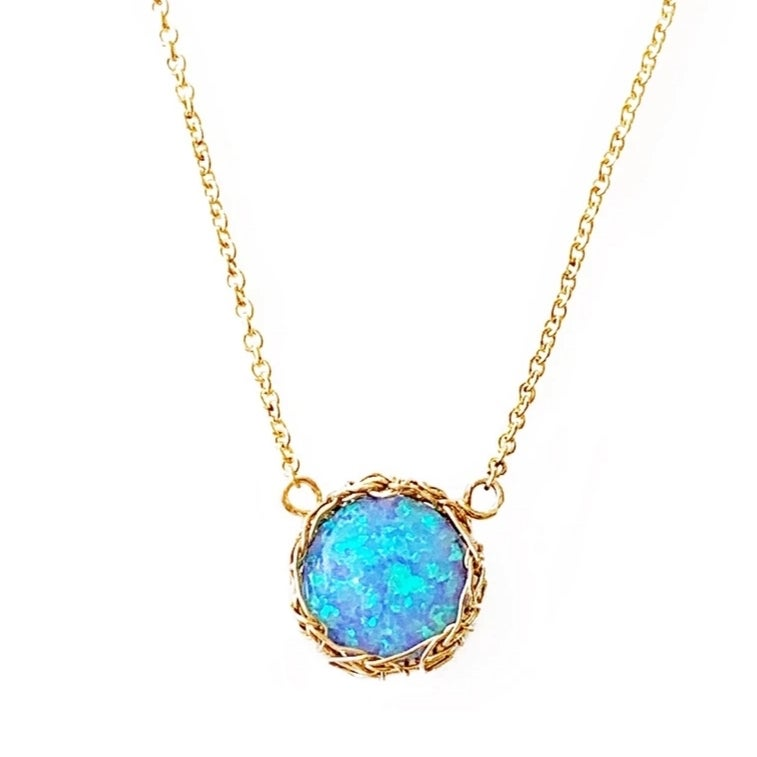 Image of 14k Gold-fill Crochet and Opal Necklace