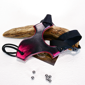Image of Compact Wooden Sling Shot, The Little Heathen, Pink Lady Spectraply Wood, Wooden Catapult