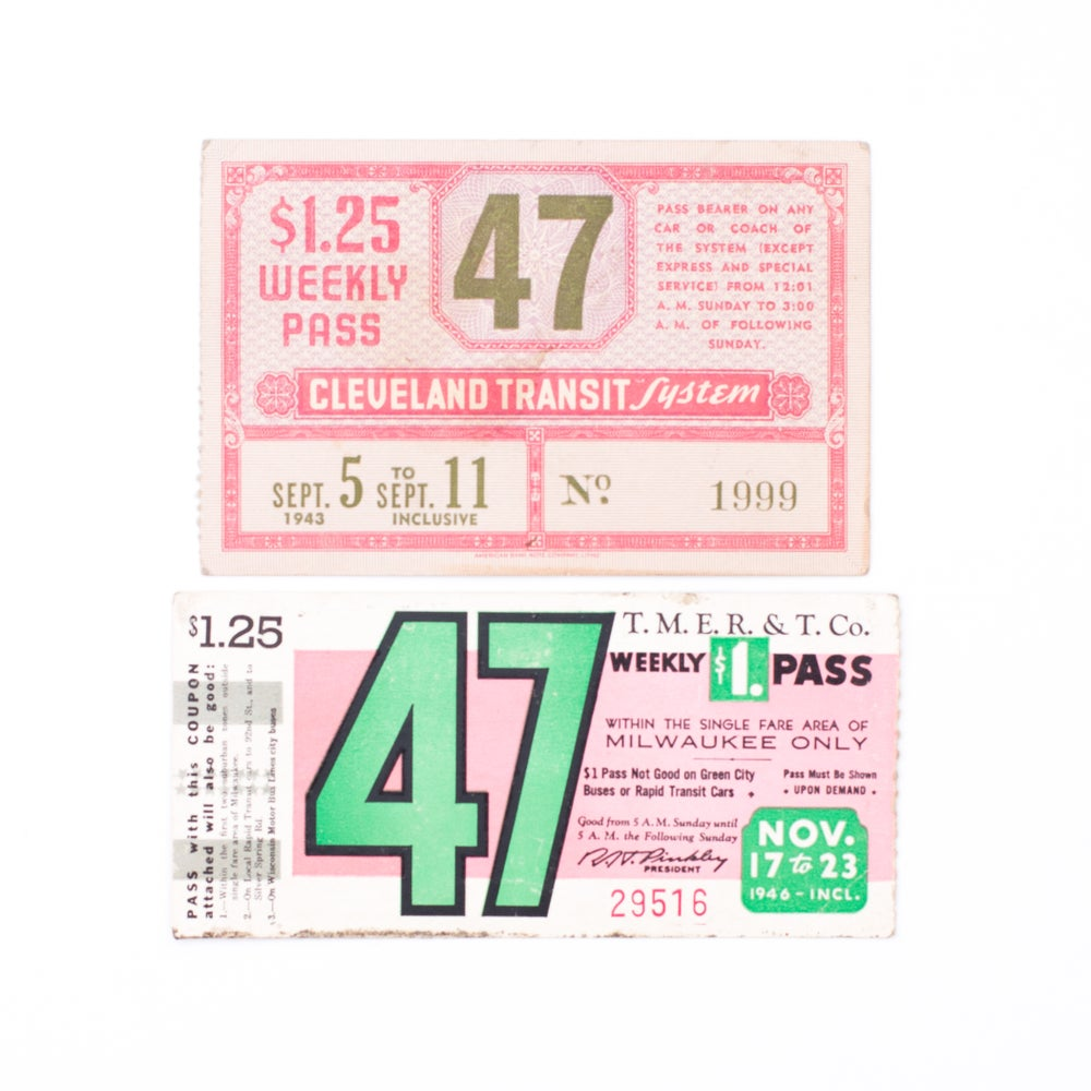 Image of 1940's Transit Tickets - Pink & Green