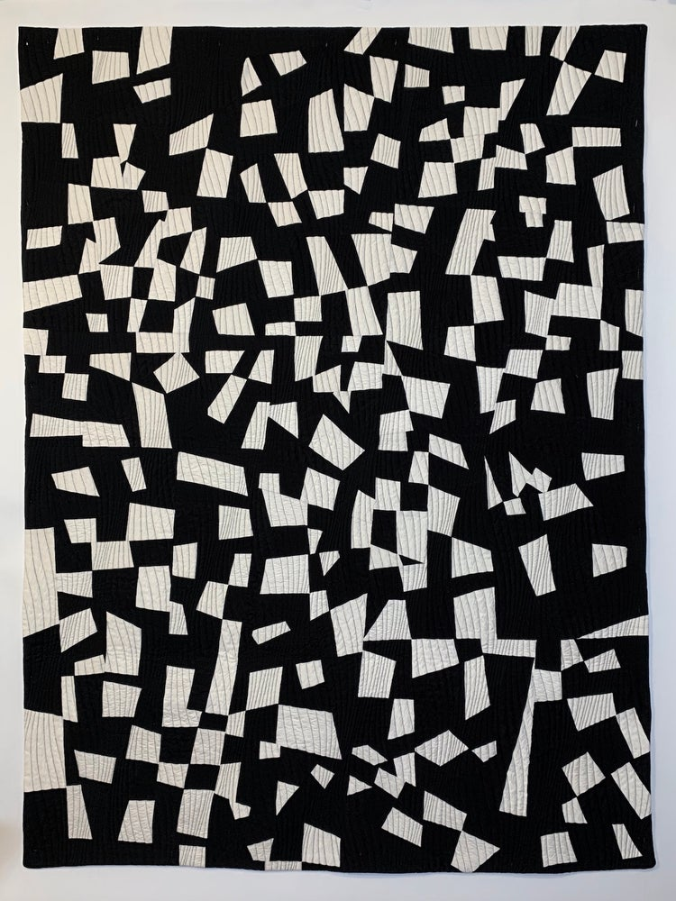 Image of Black and White Pieced Throw
