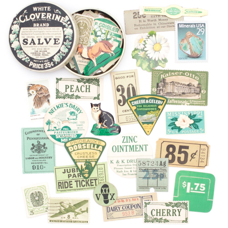 Image of Cloverine Medicine Tin with Green Ephemera