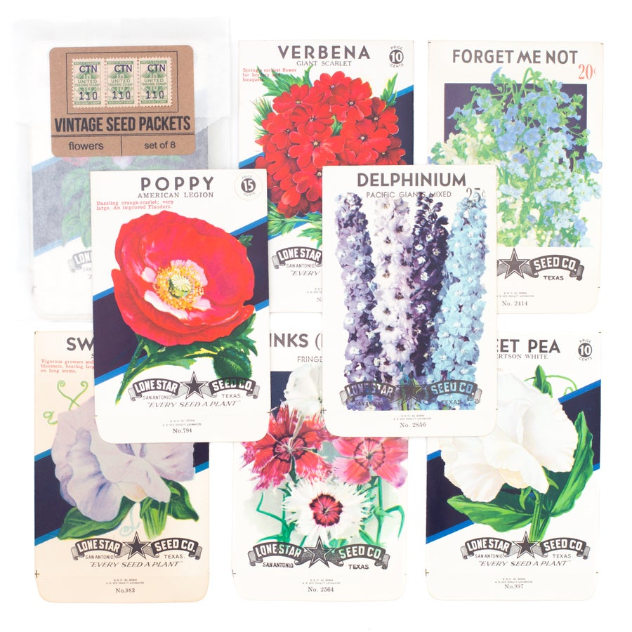 Image of Vintage Flower Seed Packets, No. 5 - Set of 8