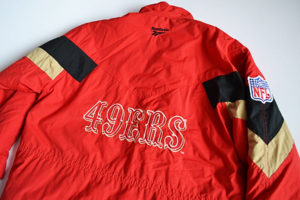 Image of Vintage 1990's San Francisco 49ers Reebok Long Parka Jacket Sz.XL