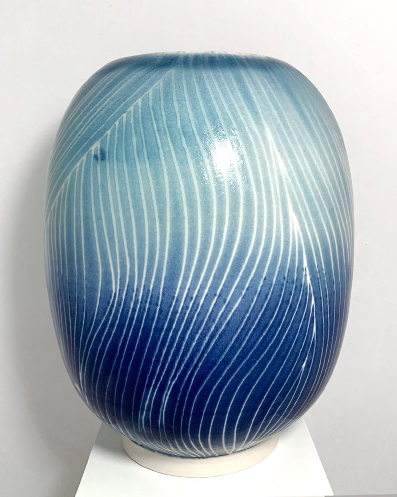 Image of Blue Strings Large Vase