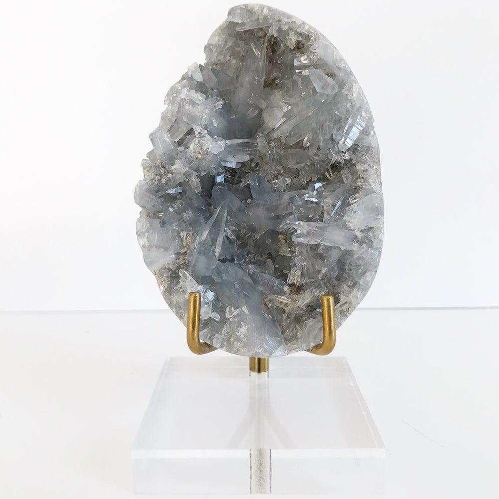 Image of Celestite no.05 + Lucite and Brass Stand