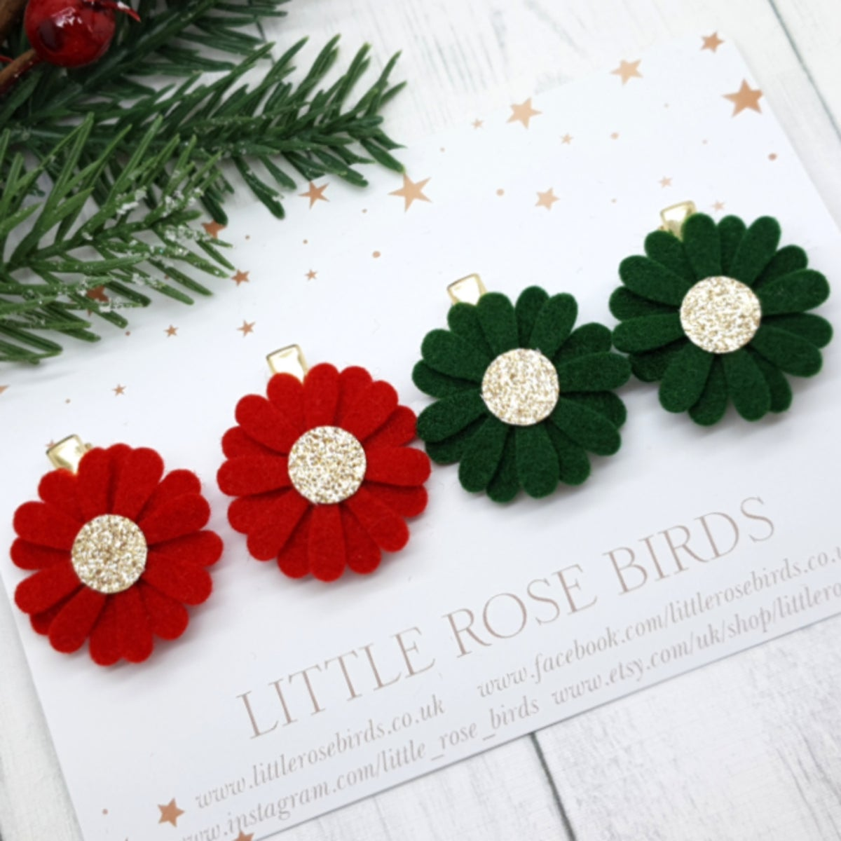 Image of Red / Green Daisy Pigtail Clip Set