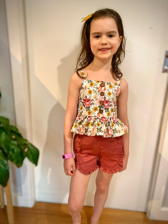 Image of Paige peplum top and Kiki ruffle shorts