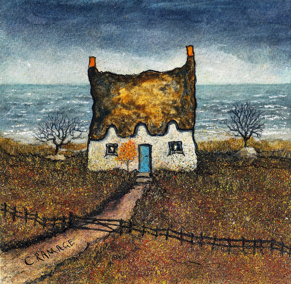 Image of Little Cottage By The Sea (Blue Door and Rough Sea)